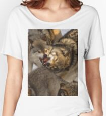 Gray Wolves in a Scuffle Women's Relaxed Fit T-Shirt