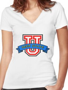 Deep State University Women's Fitted V-Neck T-Shirt