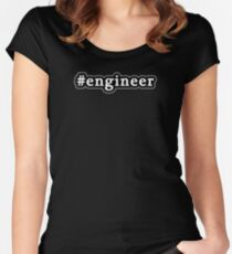 Engineer - Hashtag - Black & White Women's Fitted Scoop T-Shirt