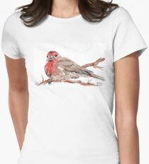 Common Red-poll {Corduelis flammea} Women's Fitted T-Shirt