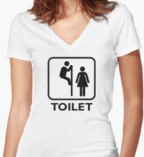 Toilet Cubicle Women's Fitted V-Neck T-Shirt