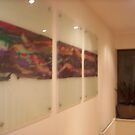 3 Piece Abstract Modern Artwork on Clear Glass Mount by charlieg82