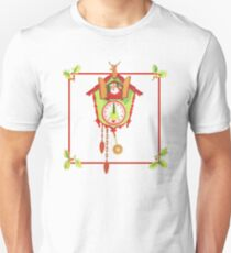 """Cuckoo for Claus"" - Vintage, Inspired, Christmas, Card, Kris, Kringle, Santa, Saint, St., Nick, Nicholas, Cuckoo, Clock, Reindeer, Deer, Head, Faux, Mount, Taxidermy, Tree, Poinsettia, Holly Berries Unisex T-Shirt"
