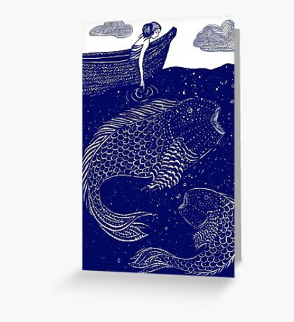 The Blue Shimmering Sea Lights Greeting Card