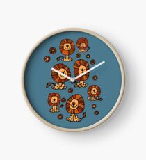 Cute Flower Cartoon Lions by Cheerful Madness!! Clock