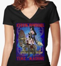 Steampunk Pony Girl Time Machine Women's Fitted V-Neck T-Shirt