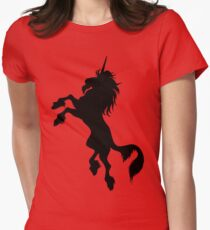 Black Unicorn by Cheerful Madness!! Women's Fitted T-Shirt