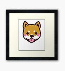 Shiba Inu Dog Breed Big Cute Face Cartoon Blush  Framed Print
