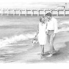 couple on the beach drawing by Mike Theuer