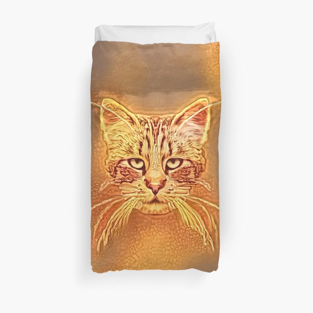 Golden Cat #Art Duvet Cover
