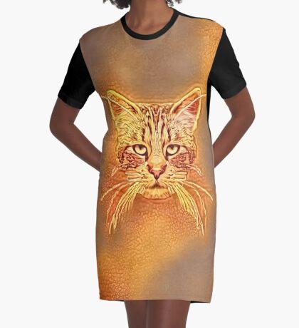 Golden Cat #Art Graphic T-Shirt Dress