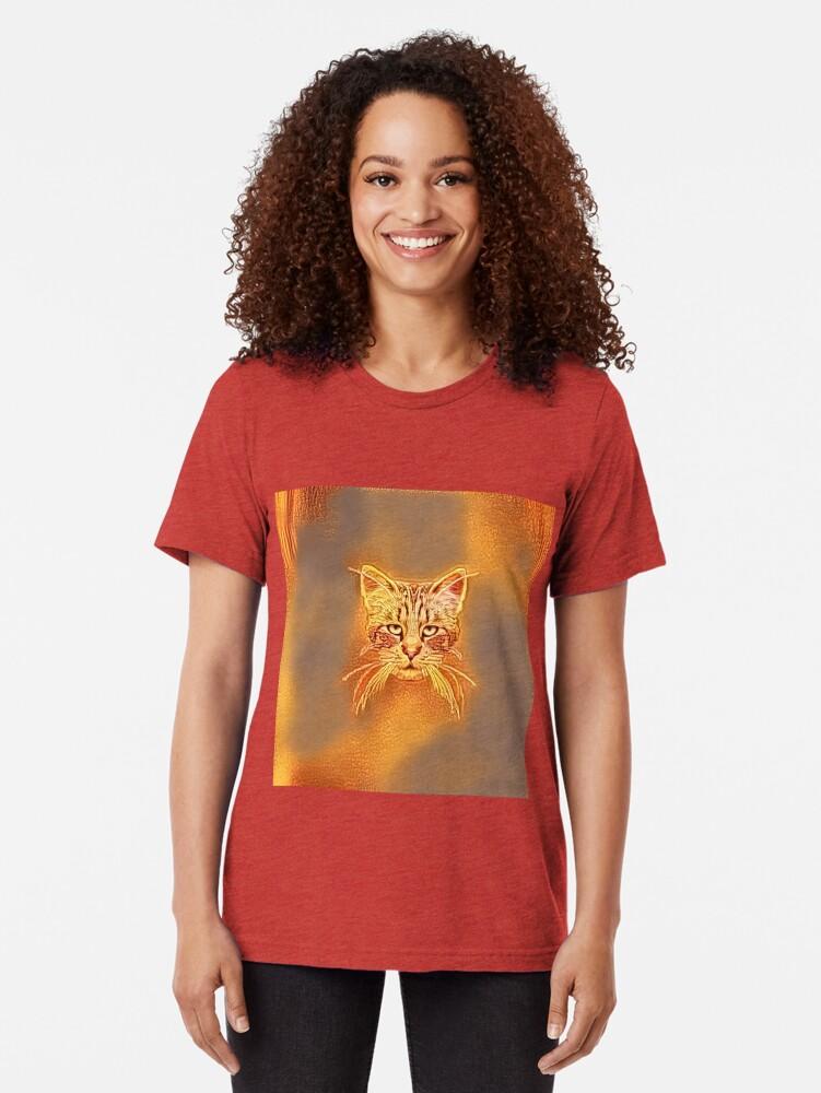 Alternate view of Golden Cat #Art Tri-blend T-Shirt