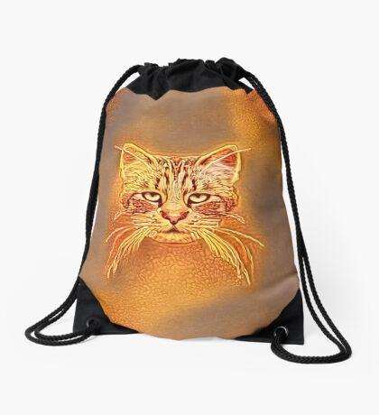 Golden Cat #Art Drawstring Bag