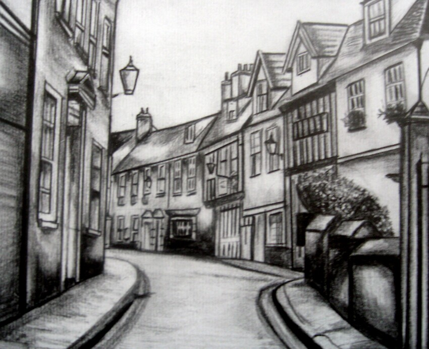 My drawing of Elm Hill2, Norwich by benni6634