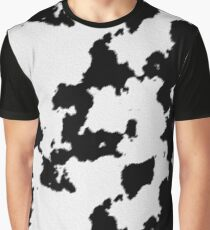 Realistic Black and White Cow Hide Pattern Graphic T-Shirt