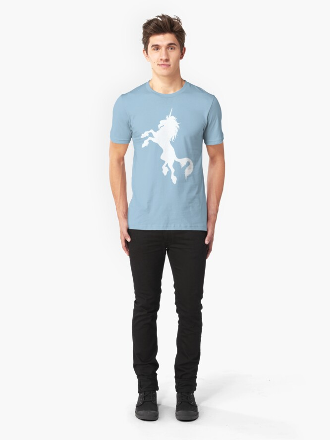 Alternate view of White Unicorn by Cheerful Madness!! Slim Fit T-Shirt