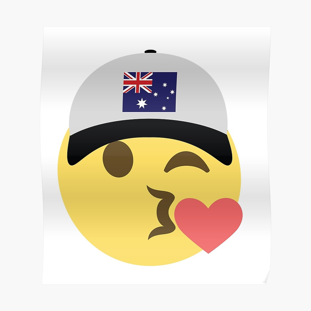 2a1b6550517 Australia Emoji Winky Kiss Baseball Hat