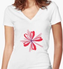 Red Ribbon Women's Fitted V-Neck T-Shirt