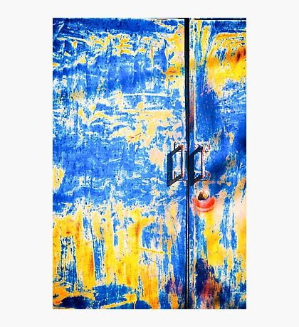 Rusted blue and yellow door Photographic Print