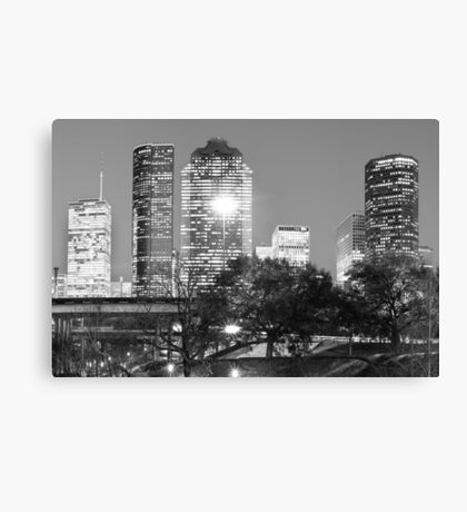 Downtown Houston City Skyline - Black and White Canvas Print