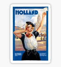 Holland Netherlands Restored Vintage Travel Poster Sticker