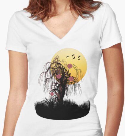 floating garden Women's Fitted V-Neck T-Shirt