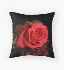 Rose with Hearts Throw Pillow