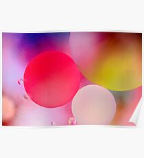 Pastel Oil Bubble Water Drops Poster