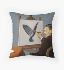 """Magritte """"Clairvoyance"""" inspired design Throw Pillow"""