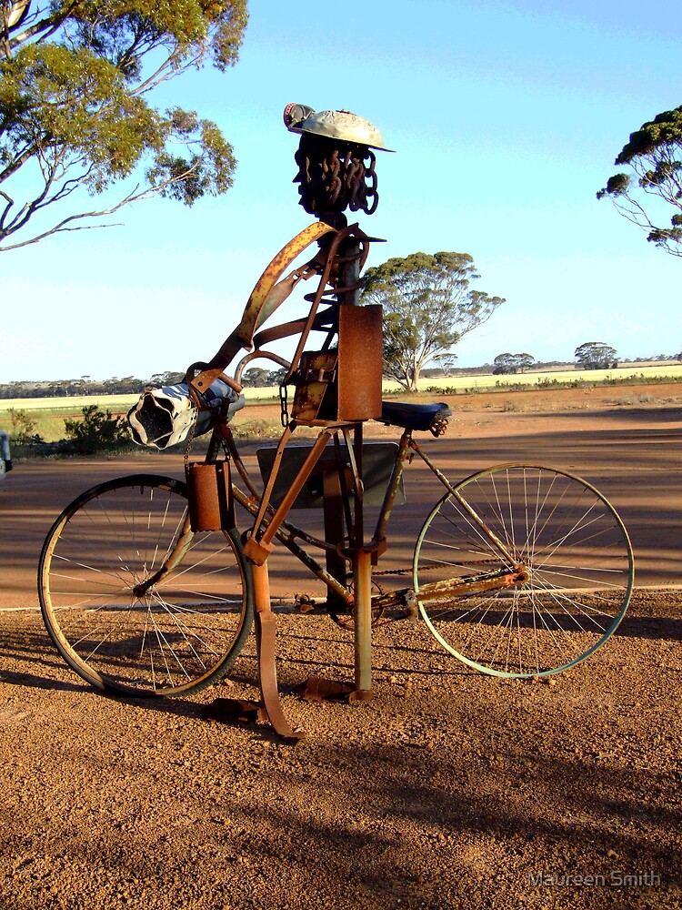Girl on a bike.....welded art at Hyden, Western Australia by Maureen Smith