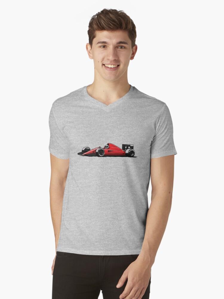 1990 Formula Car Mens V-Neck T-Shirt Front
