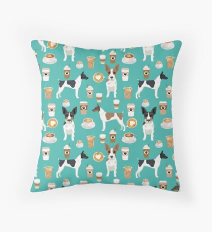 Rat Terrier coffee dog breed pet portrait dog pattern dog breeds gifts for dog lovers by PetFriendly Throw Pillow