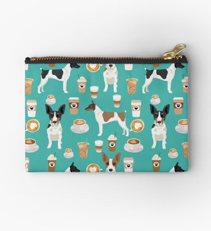 Rat Terrier coffee dog breed pet portrait dog pattern dog breeds gifts for dog lovers by PetFriendly Zipper Pouch
