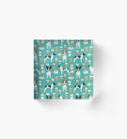Rat Terrier coffee dog breed pet portrait dog pattern dog breeds gifts for dog lovers by PetFriendly Acrylic Block