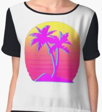 Retro Palm Trees with Sun Women's Chiffon Top