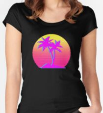 Retro Palm Trees with Sun Women's Fitted Scoop T-Shirt