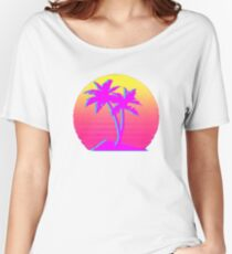Retro Palm Trees with Sun Women's Relaxed Fit T-Shirt