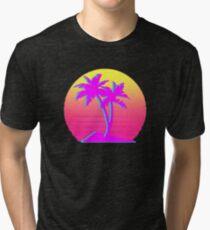 Retro Palm Trees with Sun Tri-blend T-Shirt