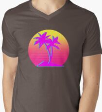 Retro Palm Trees with Sun Men's V-Neck T-Shirt