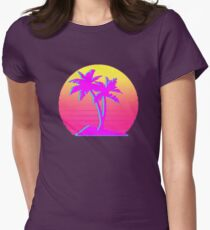 Retro Palm Trees with Sun Women's Fitted T-Shirt
