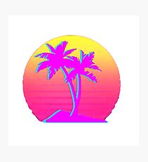 Retro Palm Trees with Sun Photographic Print