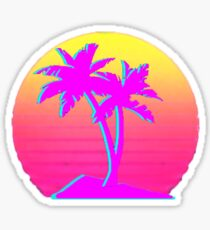 Retro Palm Trees with Sun Sticker