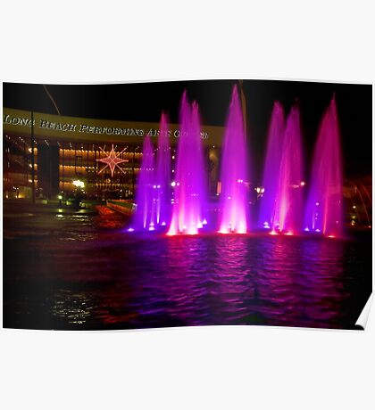 Holiday fountains in pink Poster