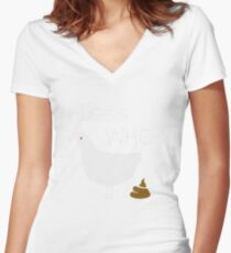 Guess Who Chicken Poo funny chicken shirt Women's Fitted V-Neck T-Shirt
