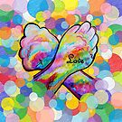 ASL Love on a Bright Bubble Background by EloiseArt