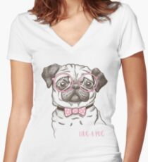 funny fashionable pug Women's Fitted V-Neck T-Shirt