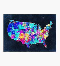 united states map usa map 5 Photographic Print
