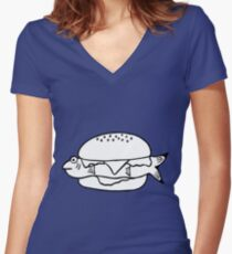 FRESH FISH BURGER Women's Fitted V-Neck T-Shirt