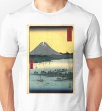 Japanese Art - View of Mount Fuji 24: The Pine Forest of Mio (1858) Unisex T-Shirt