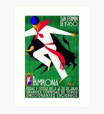 1960 Pamplona Spanien Lauf des Stier-Plakats Kunstdruck